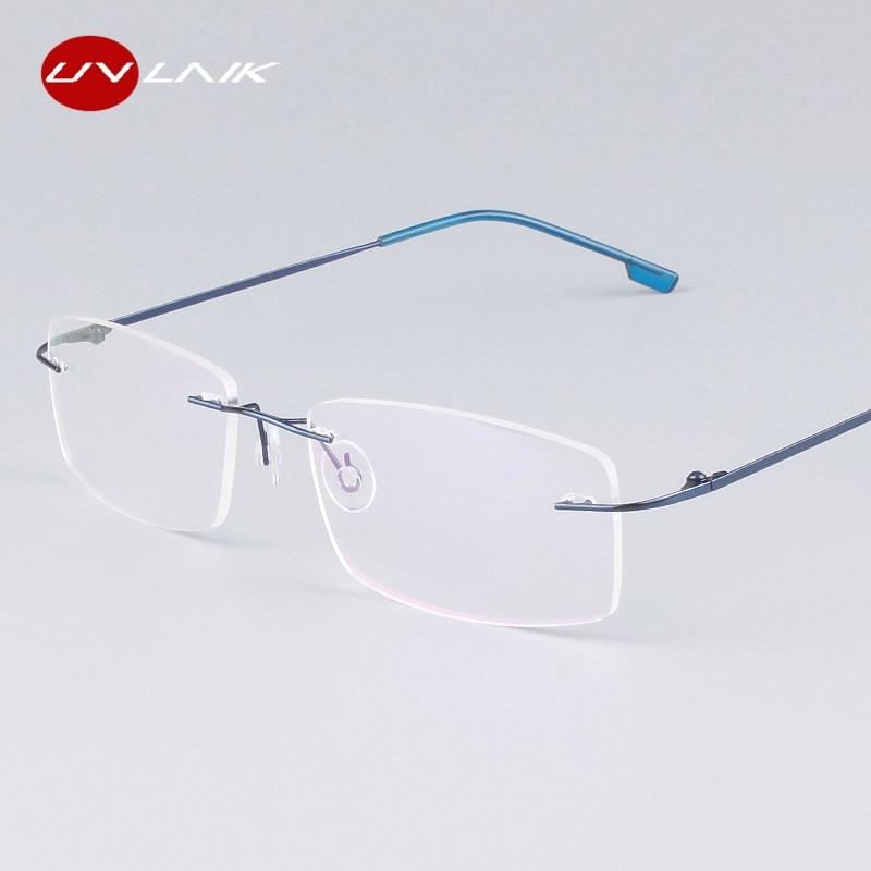669143287a UVLAIK Classic hombre puro titanio montura de gafas sin montura miopía  marco óptico ultraligero titanio Marco de gafas sin marco
