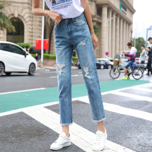 Loyalget Blue Distressed Boyfriend Ankle Denim Jeans Women Tassel Ripped Jeans Woman Denim Pants Trousers For Women Jeans