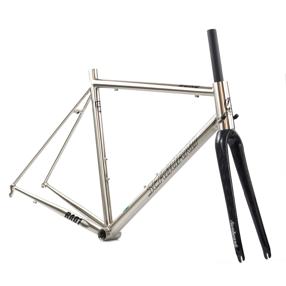 Seaboard CR-MO Steel Road Bike Frame Carbon Fork 700C Classic Chrome Frameset Tapered Brush Silver 4130 Heat Treating