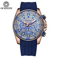 OCHSTIN Fashion Sport Silicone Men Watches Quartz 3ATM Water resistant Luminous Man Wristwatch Calendar Chronograph Watch 2018