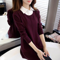 Autumn Winter Sweater Women Shirt Collar Knitted Sweaters Female faux two piece Cashmere Blend Casual long sleeve Pullover JN830