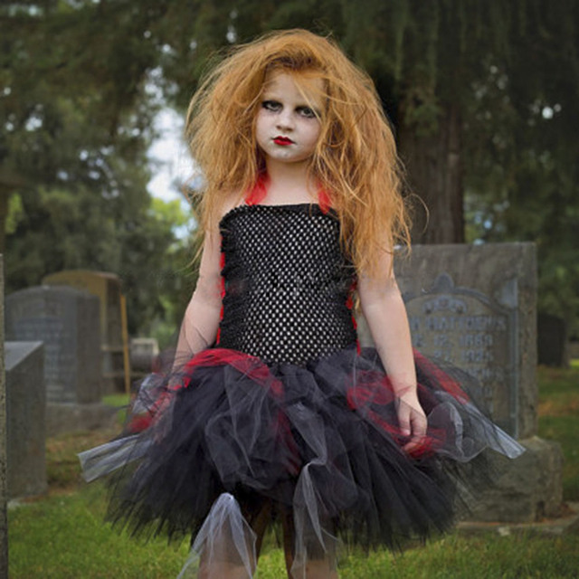 dollbling zombie tutu dress black red halloween costume little girls dress for halloween party scary monster