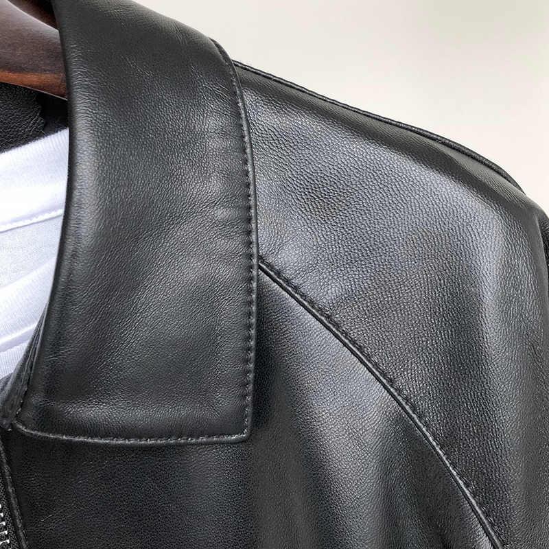 Nerazzurri แจ็คเก็ตหนังผู้หญิง 2019 plus ขนาด o-neck zipper casual แจ็คเก็ตแขนยาว 5xl 6xl 7xl สีดำจีบสั้น pu เสื้อ