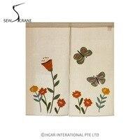SewCrane Butterfly And Flowers Embroidery Design Japanese Noren Home Restaurant Door Curtain Noren Doorway Room Divider