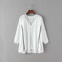 2015 Vintage Embroidered Floral Ethnic Tunic Boho Hippie Peasant Blouse Loose Long Sleeve Shirt