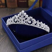 hot deal buy full zircon leaf tiara copper zircon tiaras micro pave cz bride crown wedding hair jewelry diadem mariage bijoux coroa wigo1042