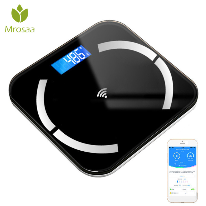 Electronic-Scales Glass Floor Digital-Weight-Balance Bathroom Smart Household LCD 180KG/50G