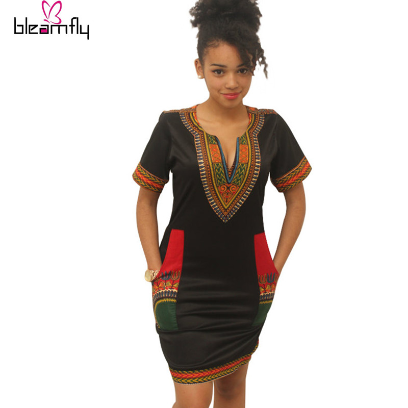 Dashiki dress 2016 Summer Sexy African Print Shirt Dresses Fs