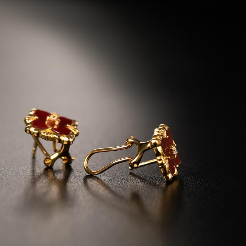 925 argent Zircon oreille goujon bijoux femmes cour européenne style vintage - 4