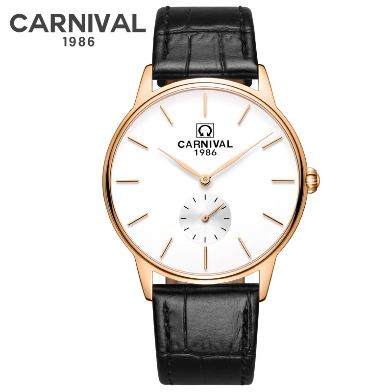 Carnival Leather Strap Watch Men Ultra thin 6MM Mens Watches Top Brand Luxury Waterproof Quartz Wristwatch relogio masculino|Quartz Watches| |  - title=