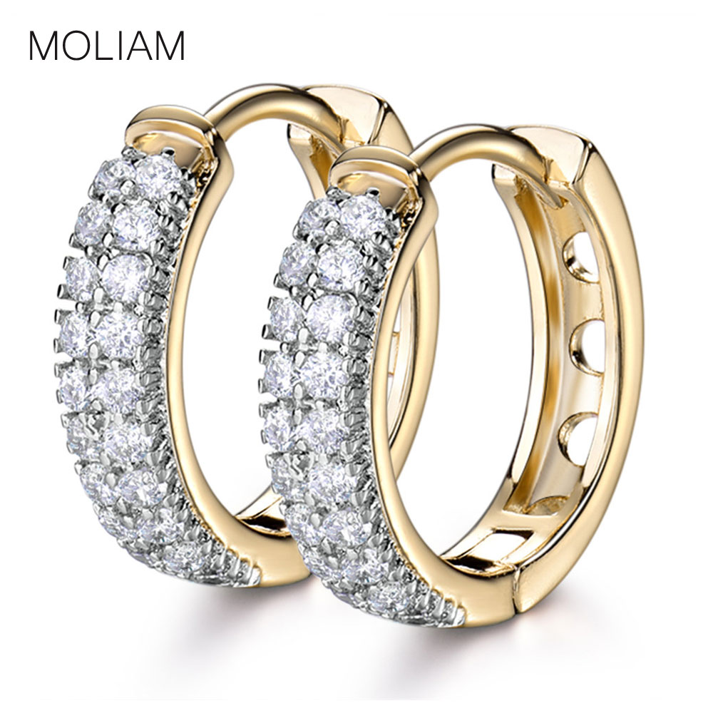 MOLIAM नई आगमन शानदार घेरा कान की बाली महिलाओं के फैशन शादी महिलाओं के सामान के लिए क्रिस्टल जिक्रोन कान की बाली MLE177