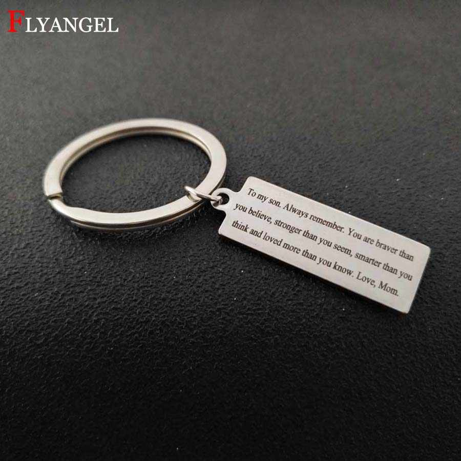 fb4e86d843e Fashion Engrave You're braver than you believe Keyring Mother Mom Give Son  Boy Men Birthday Gift Inspirational Jewelry Keychain
