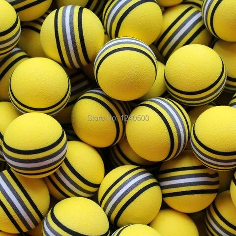 Bolas de Golfe Bola de Golfe Auxílios à Formação Bolsa Espuma Rainbow Amarelo Esponja Prática Indoor 100 Pçs – Eva