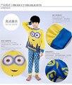 100% Algodón de Los Cabritos de La Moda Del Pijama Niños Pijama de Manga Larga Pijama Garcon Amarillo Minion Pijamas ropa de Dormir Cómoda Para Niño 2-7 Años