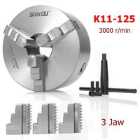 SANOU K11 125 3 Jaw Lathe Chuck 125mm Self Centering Hardened Reversible Tool for Drilling Milling Machine