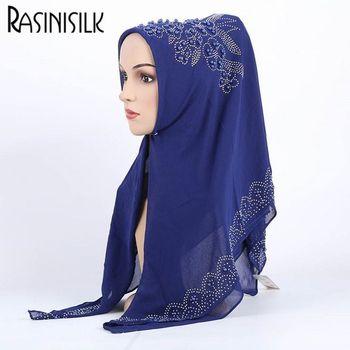 90*90CM High Quality Chiffon Hijab Luxury Rhinestone Pearl Muslim Square Scarf Bubble Pearl Women Shawl Wrap Plain Headscarf 1pc 105 105cm bubble chiffon square islamic scarves women s plain colours muslim headscarf with rhinestone pearl decor arab shawl