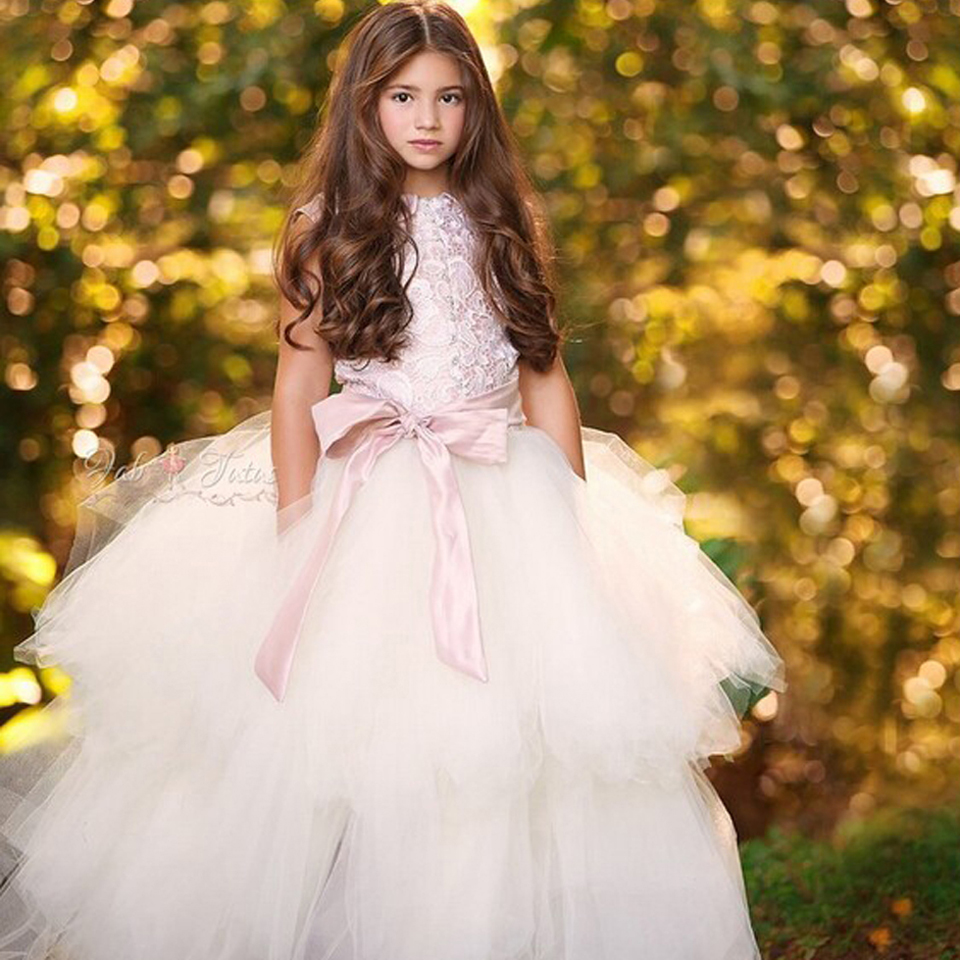 Ankle Length Pink Color Party Princess Mesh Satin Honorable and Grace Ball Gown for Weddings Flower Girl DressesSleeveless 2016