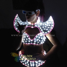 LED Clothing Lady Clothes 2015 Hot Fashion Glowing Women Bra Shorts Alice shoulder Armor Suits Ballroom Dance Dress