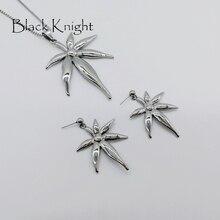 цена New Maple leaf jewelry set Silver color stainless steel Maple leaf pendant necklace earrings womens fashion jewelry set BLKN0571 онлайн в 2017 году