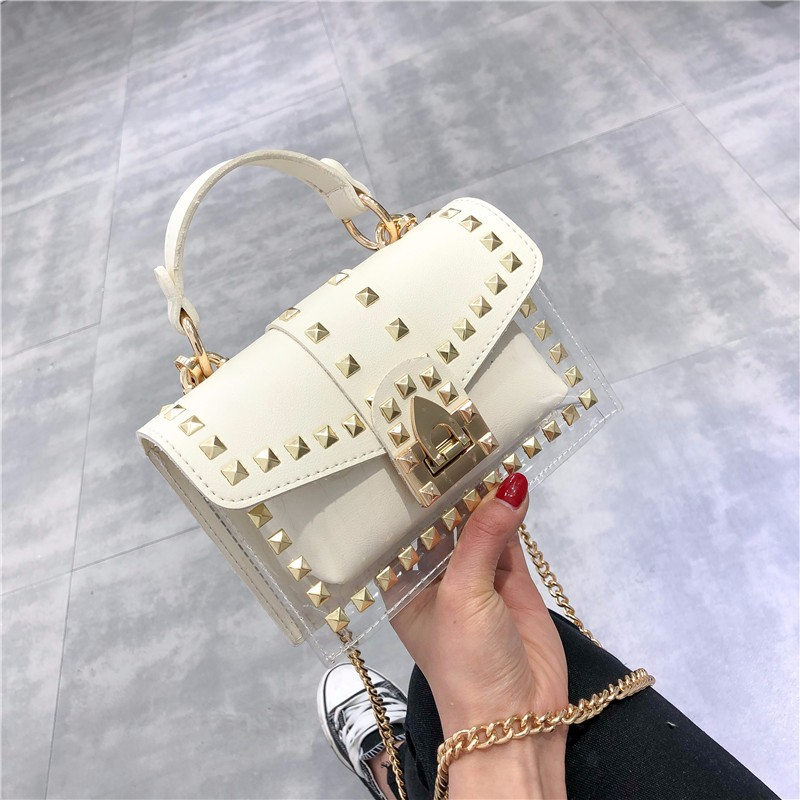 Two sets Design Luxury Brand Women Transparent Bag Clear PVC Jelly Small Totes Messenger Bags Female Crossbody Shoulder Bags