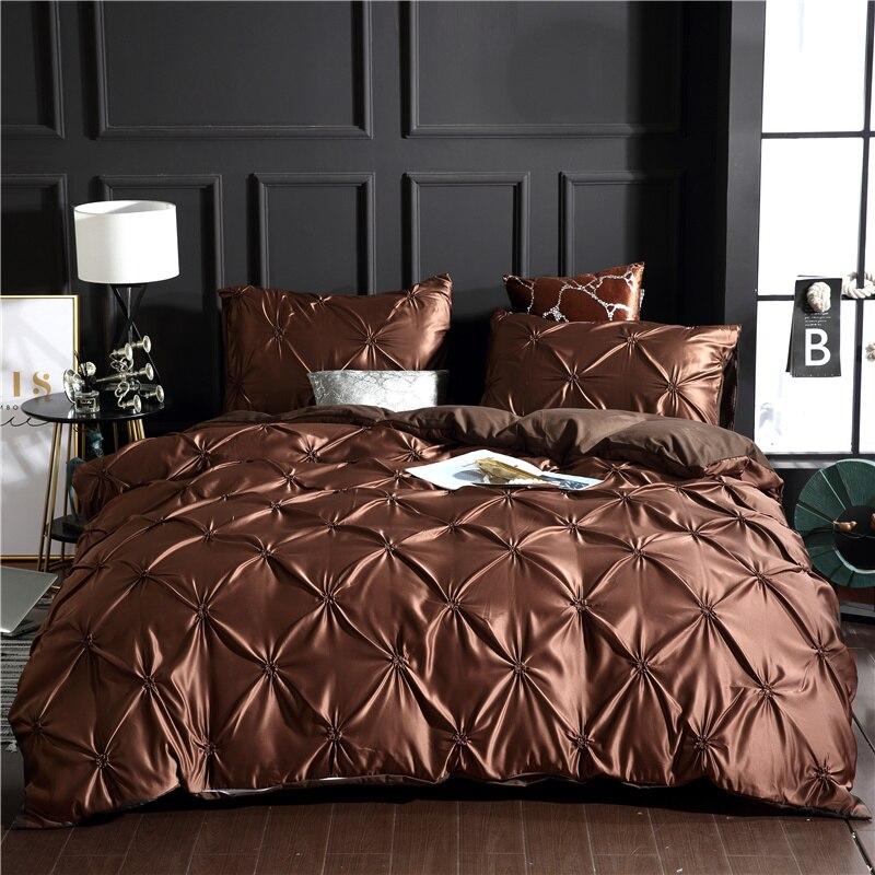 Ensemble de literie en soie pure satin brun chaud Textile à la maison ensemble de lit King size literie housse de couette taies d'oreiller double King size