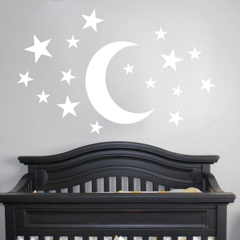 Moon Starry Night City House DIY Wall Stickers Kid/'s Room Decals