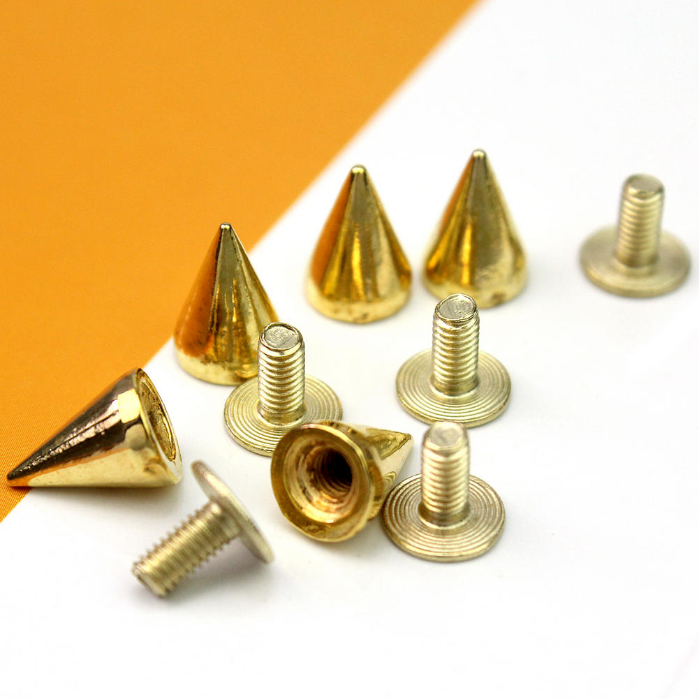 100Pcs Metal Cone Bullet Rivets Screw Stud Spot Leathercraft Spike Punk Rock DIY
