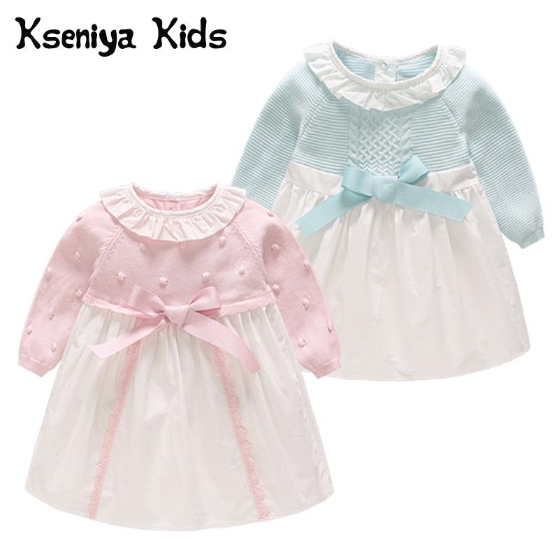 Kseniya Kids Newborn Girl Baby Dresses Long Sleeve Peter Pan Collar Bow 1 Year Birthday Dress Baby Dress Christening sun moon kids baby dress 2017 long sleeve 1 year birthday dress casual ruffles newborn baby girl clothes princess tutu dresses