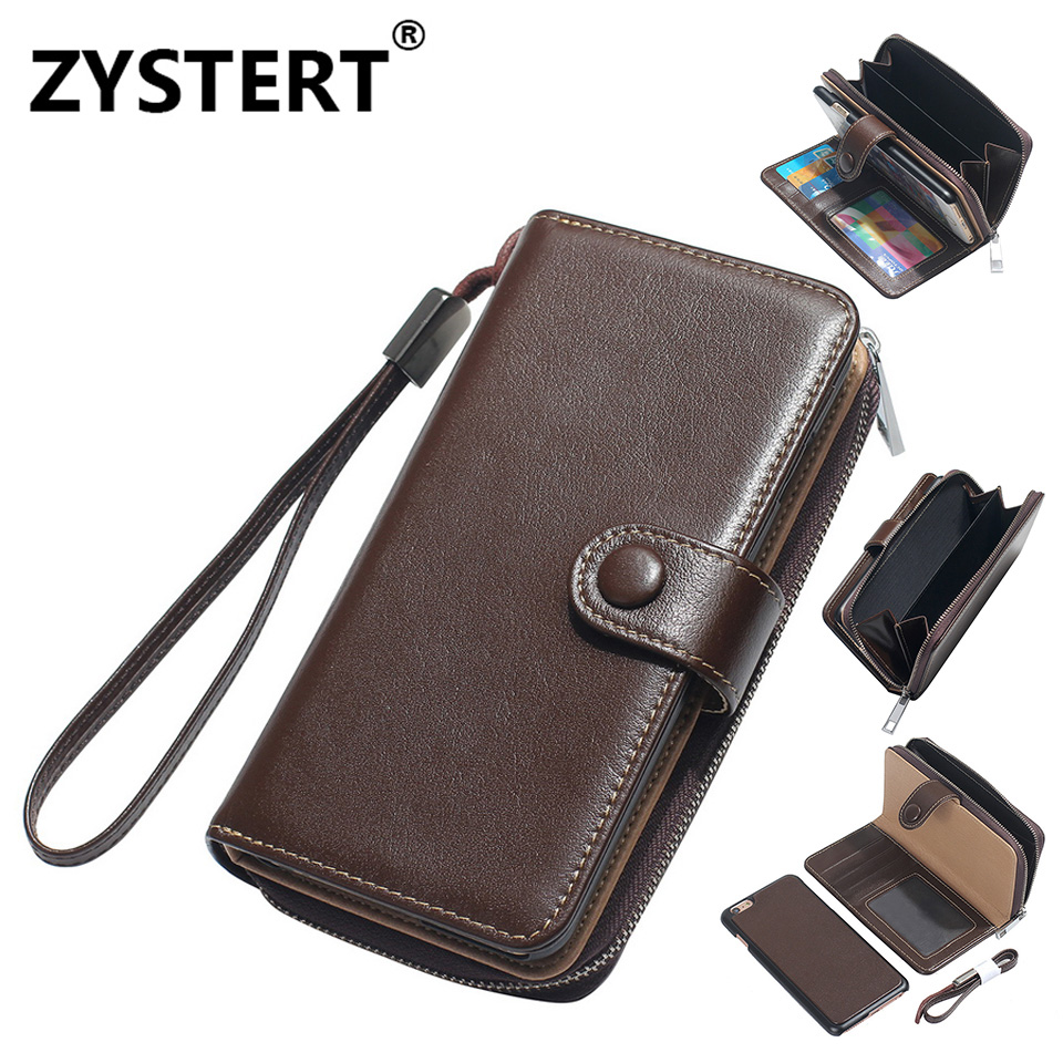 For IPhone 8 Rope Cowhide Leather Men Shockproof Hard Armor Zipper Wallet Case For Apple IPhone