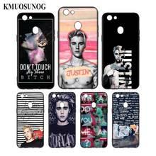 Silicone Phone Bag For OPPO F5 F7 F9 A5 A7 R9S R15 R17 Black Soft Case Fashion justin bieber Style