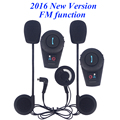 2016 new! waterproof motorcycle bluetooth intercom interphone headset for moto helmet intercommunicador with FM function