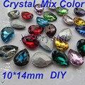 De alta qualidade cores diferentes 10 x 14 mm 10 pçs/lote Pear gotas Pointback cristais pedras vidro Chaton para fazer jóias