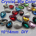 Diferentes colores alta calidad 10 x 14 mm 10 unids/lote pera gotitas Pointback cristales piedras Chaton cristal para la fabricación de joyas