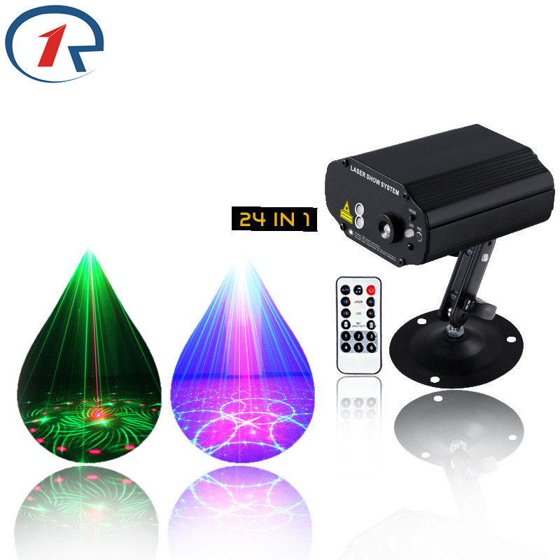 ZjRight LED Stage Lights 24 Patterns Laser projection IR Remote Red Green Blue party bar ktv Christmas novelty ceiling lighting