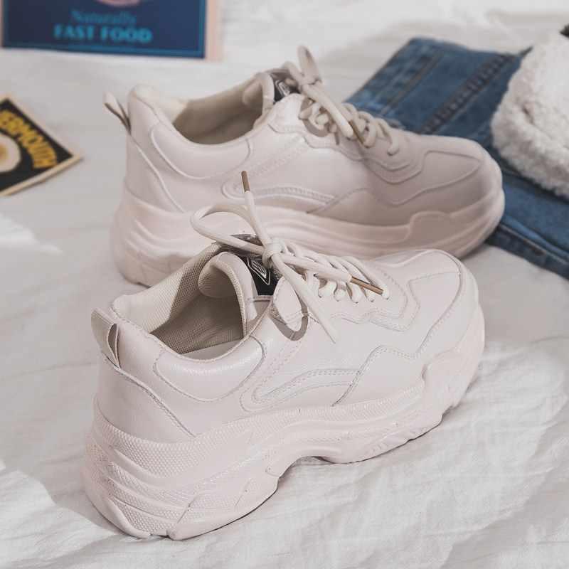 Sneakers Lace Up Platform Shoes Woman