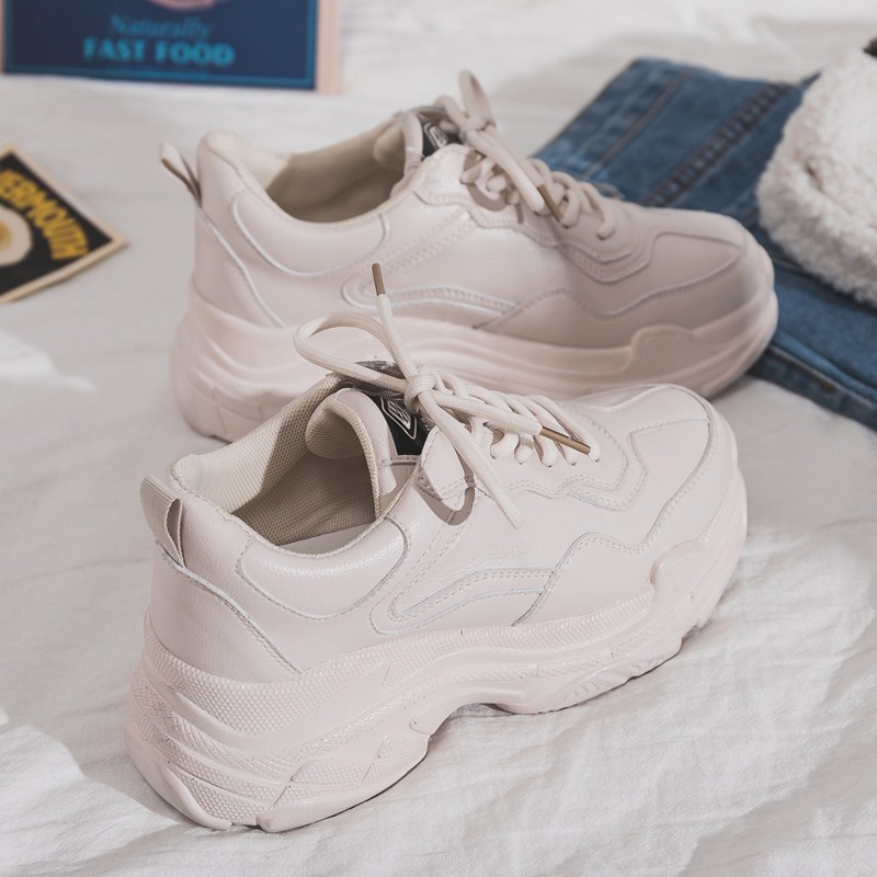 Size 35-40 2019 New Casual Womens Sneakers Lace Up Platform Shoes Woman For Thick Soled Vulcanize Shoes Comfortable FootwearSize 35-40 2019 New Casual Womens Sneakers Lace Up Platform Shoes Woman For Thick Soled Vulcanize Shoes Comfortable Footwear