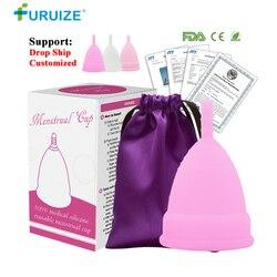 Горячая продажа менструальные чашки для женщин женственная гигиена медицинские 100% силиконовые чашки менструальные многоразовые женские ч...