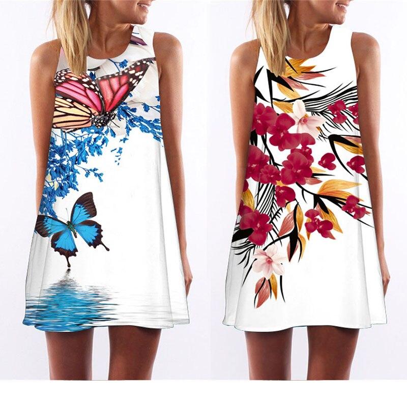 Chuqian Summer Dress Women 2019 Retro Casual Office Clothing Sleeveless Beach Dresses Cartoon Plant Print Vest Dress Vestido