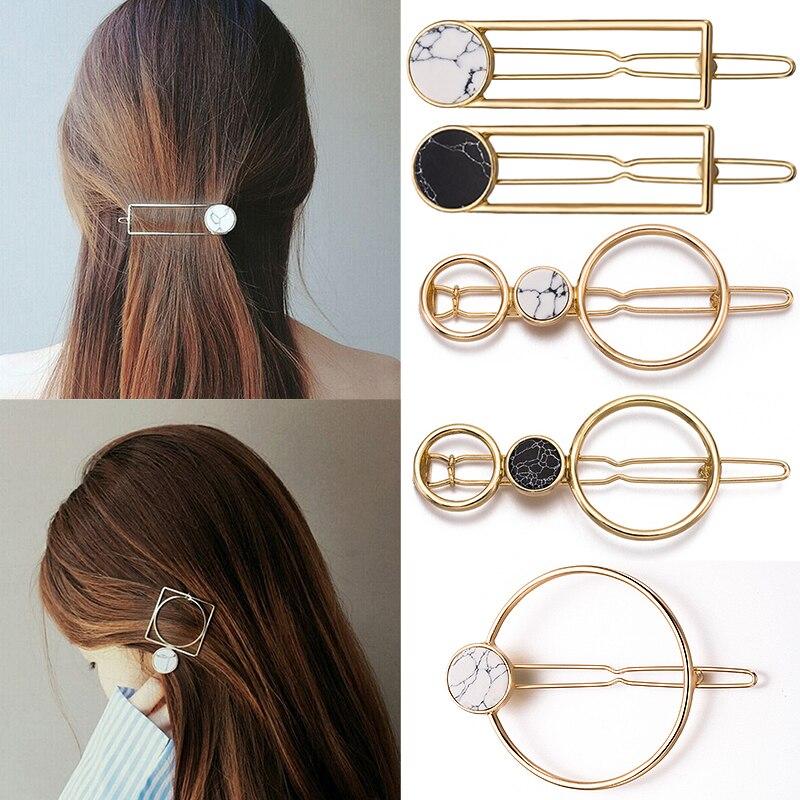 Venda 1 PC Liga Rodada grampo de Cabelo Para As Mulheres Geométricas Simples grampos de cabelo lado clipe Barrette pedra natural Beleza Fezes