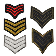 5pc gold silver red green USA military Rank Set embroidered patches for clothing army logo iron on clothes badge motif appliques