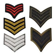 5 adet altın gümüş kırmızı yeşil ABD askeri Rütbe Seti giyim için işlemeli yamalar ordu logosu demir on giysi rozeti motif aplikler