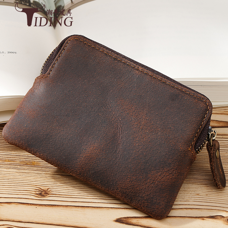 Fashion Brand Genuine Leather Zipper Large Capacity Male Case Bag Wallet cow Leather Small man Coin Purse Mini Change Purses