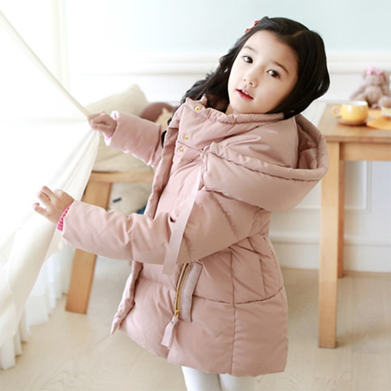 2016 Cold Winter Warm Thick Baby Child Girl Hoody Long Outerwear Pink Duck Down Parkas Jacket