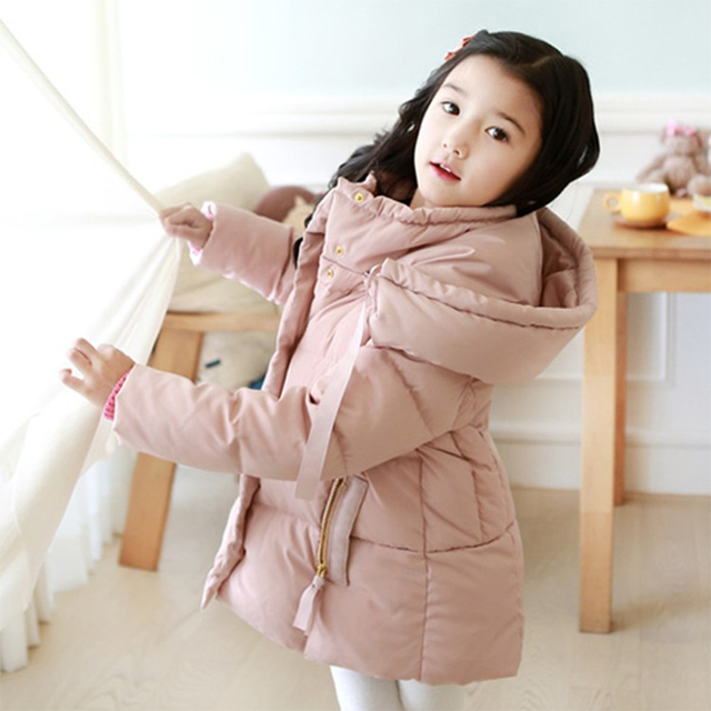 2016 Cold Winter Warm Thick Baby Child Girl Hoody Long Outerwear Pink Duck Down & Parkas Jacket & Coat For Girls 100-150 cm
