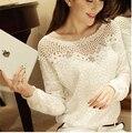 2016 Autumn Women Blouse New Fashion Hot Sale White Solid Puff Sleeve Bat-like Shirt Women Work Wear Blusas Femininas