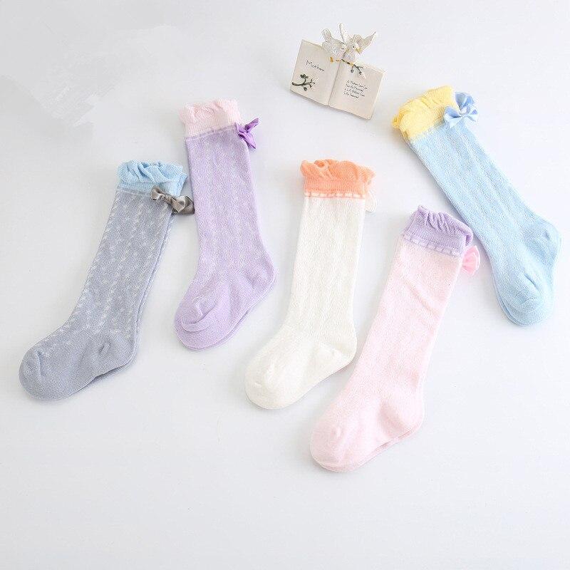 Roztomilé dívčí kolena vysoké ponožky s mašlemi prodyšná síťovina princezna ponožky dětské krajkové límec volánské ponožky děti meias dlouhá trubice sladká