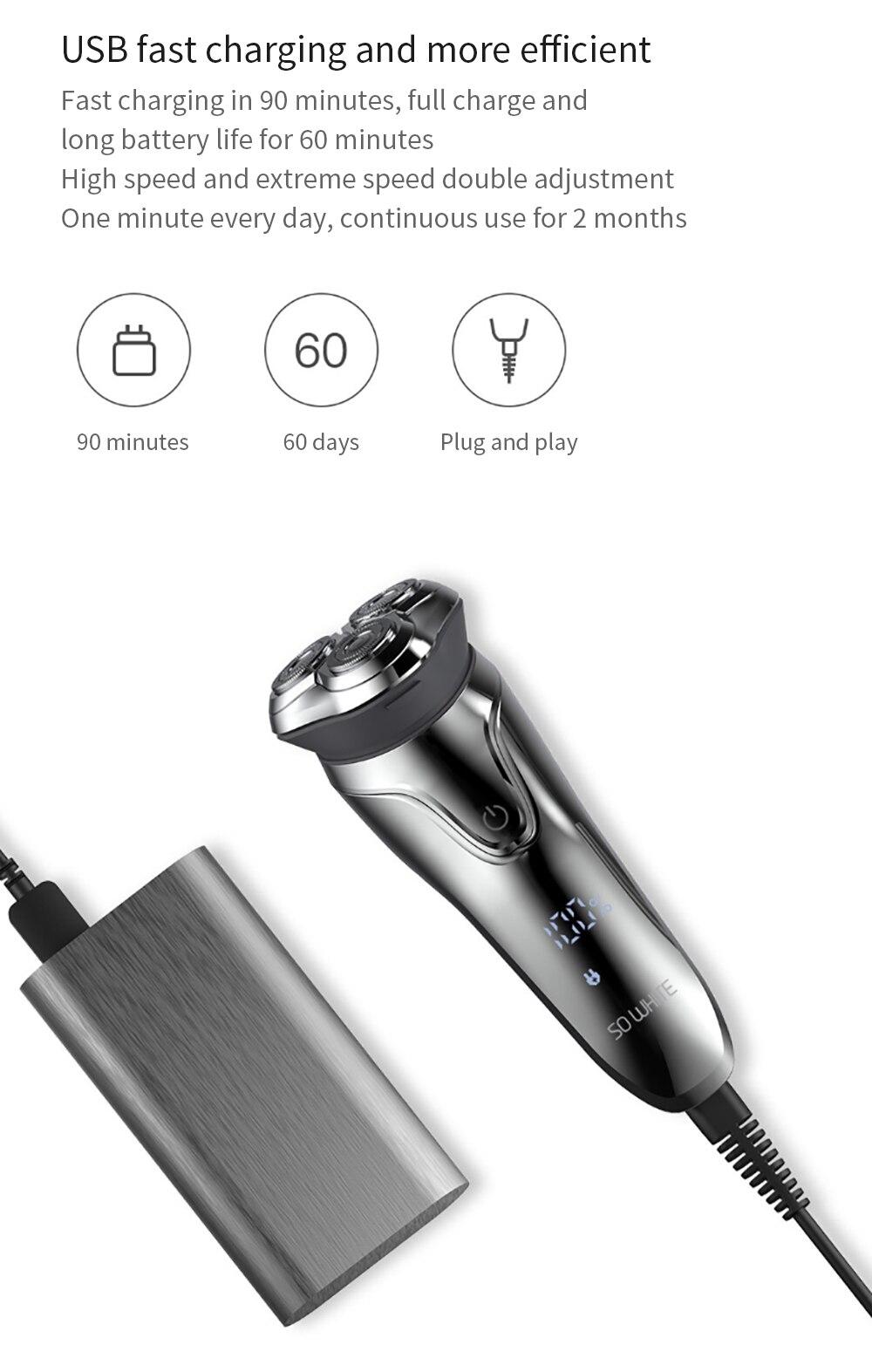 SOOCAS SO WHITE ES3 USB Rechargeable Electric Shaver xiaomi razor 3 head Electric Razor for men beard trimmer shaving machine 11