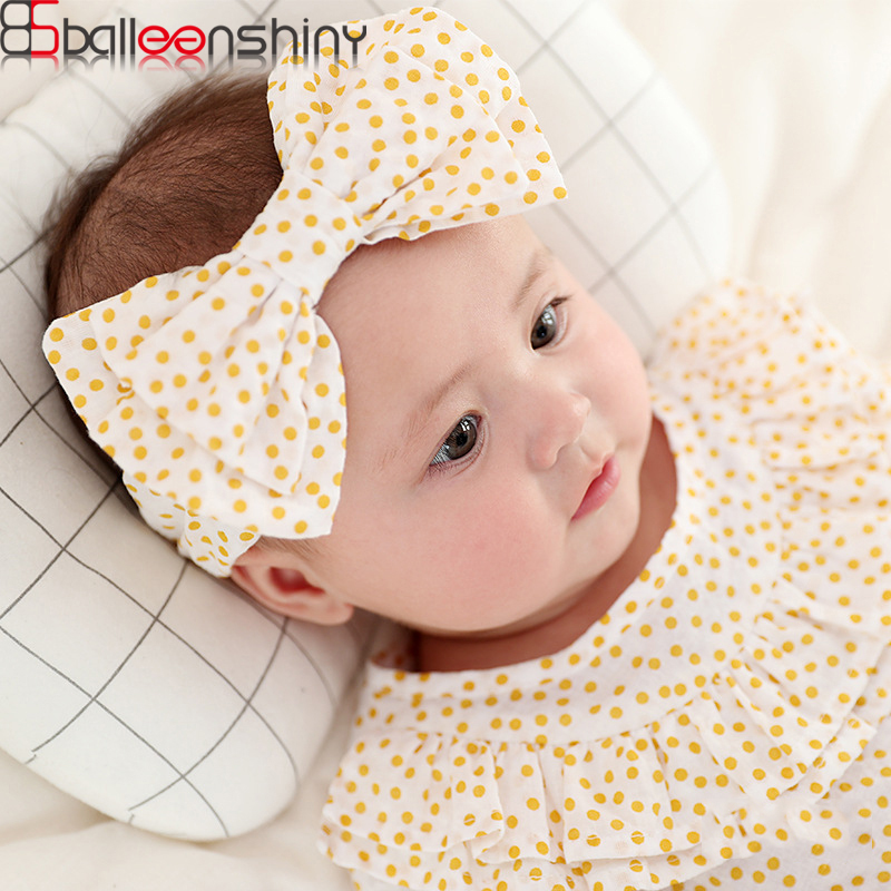 BalleenShiny Cute Newborn Baby Bowknot Printing Hairband Toddler Rabbit Ears Headband Kids Princesses Photograph Pro Headwear