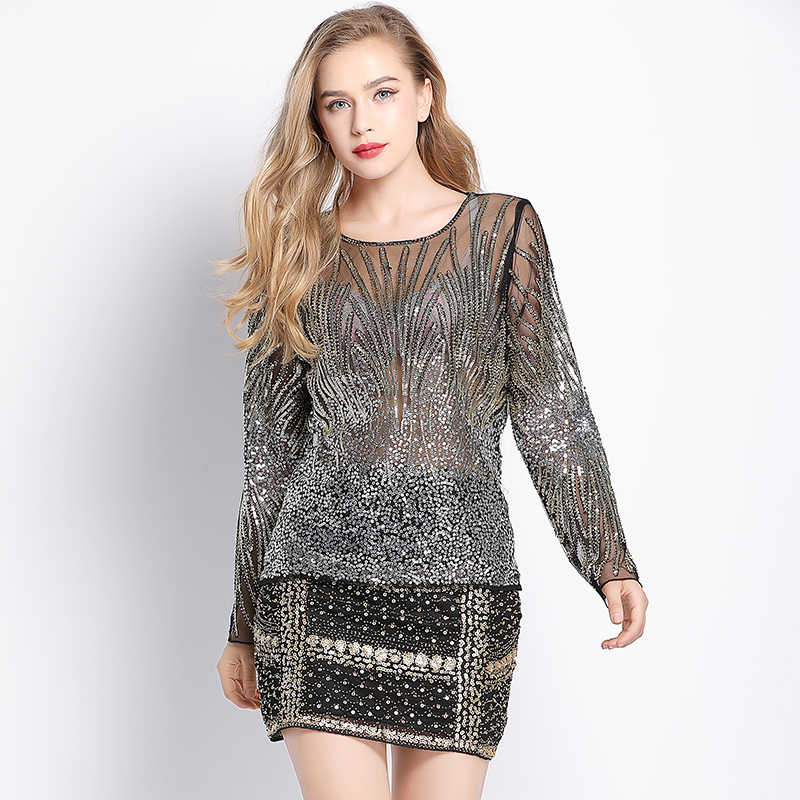 Elegant Women Ombre Sequin Blouse Vintage Perspective Sheer Mesh Long  Sleeve Beaded Shirt Top Tunic Blusa 683be8e33aaf