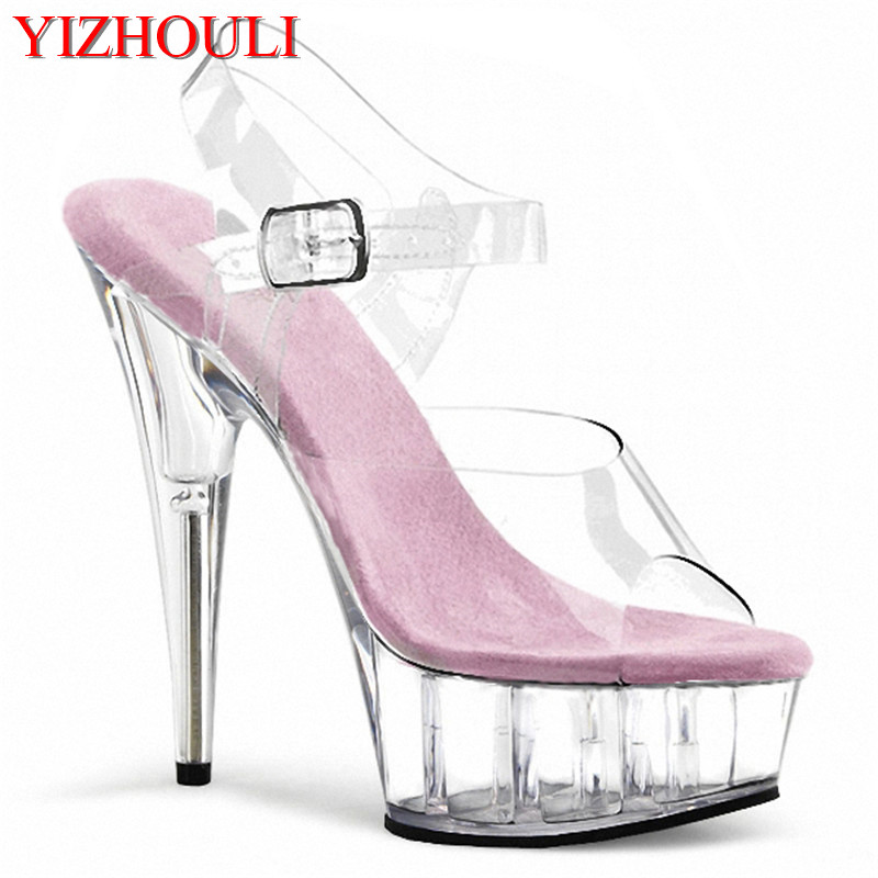 Women Shoes High Quality Female Model T Station Catwalk Sexy Crystal Transparent Shoes 15CM High Heels Waterproof Head Sandals